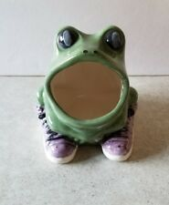 Frog in Sneakers Scrubby Holder Ready to Paint, Unpainted Ceramic Bisque