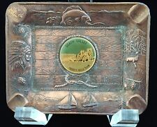 VINTAGE FRED HARVEY SOUVENIR COPPER ASHTRAY OF DEATH VALLEY CA