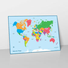 WORLD MAP LEARN CHILDRENS POSTER WALL CHART MAP OF WORLD COUNTRIES