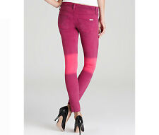 $187 NEW Hudson Jeans Krista Super Skinny Stretch Low Rise Ombre Pink Sz 30 READ