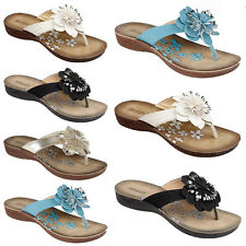 LADIES WOMENS FLOWER MULES FLAT SUMMER SANDALS FLIP FLOPS BEACH SHOES SIZE 3-8