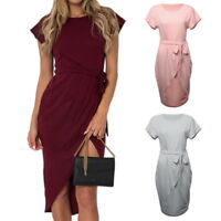 PA Womens Belted  Holiday Maxi Casual Ladies Party Long Skirts Dress