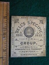 1870s-80s Bell's Specific For Croup Quack Medicine Dr. Victorian Paper Label L10