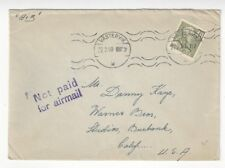 1950 Vastervik Sweden Air to Danny Kaye Warner Bros Studio NOT PAID for AIRMAIL