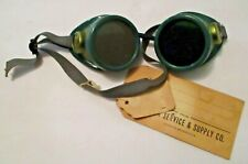 Nos Vintage Oxweld Green Cutting Welding Goggles With Original Tags ~ Steampunk