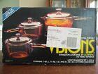 Vintage 1986 Corning Visions Range Top Cookware Amber 6 Piece Set NIB V-300-N
