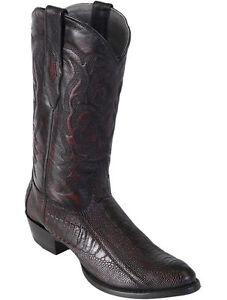 LOS ALTOS MEN CHERRY GENUINE OSTRICH LEG ROUND TOE WESTERN COWBOY BOOT (D)