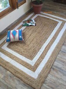 Rug 100% Natural Jute Braided Style Handmade Carpet Modern Living Area Rag Rug