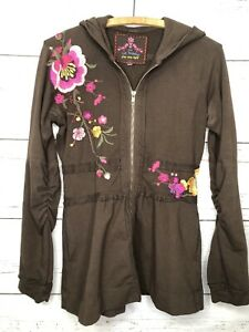 JOHNNY WAS LOS ANGELES Embroidered Zipper Hoodie Floral Small S Pockets Brown
