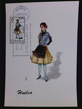 SPANIEN MK 1968 TRACHTEN HUELVA COSTUMES MAXIMUMKARTE MAXIMUM CARD MC CM c5552