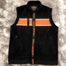 Genuine HARLEY DAVIDSON Biker Reflective Polyurethane Fleece Vest Jacket Med.