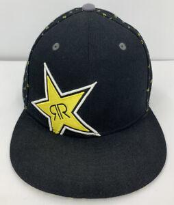 Rockstar Energy Drink Fitted Hat Flat Fitty 7 3/8 Black Cap Star Logo