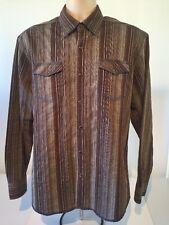 Age of Wisdom Men's Long Sleeve Pearl Snap Multi-Color Striped SZ L Shirt