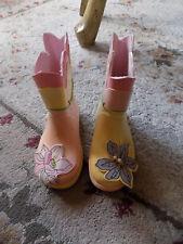 Girls Toddler Rubber Rain Boots Sz 6 Pink Yellow 3D Raised Flowers Bugs Garden