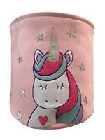 Purpurina Unicornio Niños 3D Cesta para Colada Bolsa Almacenaje Rosa 35 x 35cm
