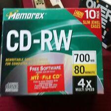Memorex CD-RW 4X 80 Min 700 MB Rewritable Compact Disc W/Jewel Cases 10 Pack d48