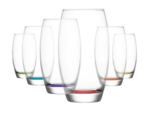 HiBall Coloured Base Glasses. Water Juice Drinking Tumbler 510 ml ( Pack of 6 ).