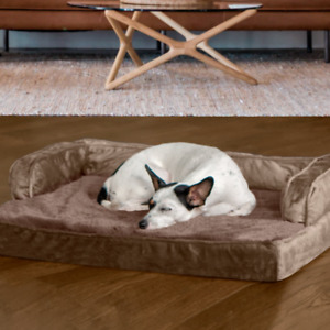 FurHaven Orthopedic Memory Foam Plush and Velvet Comfy Couch Dog Bed Medium- Bwn