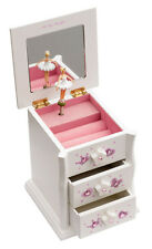 Girls White Beautiful Ballet Dance Wooden Music Jewellery Box By Katz JB13