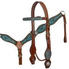 Showman TEAL Filigree Crystal Conchos Med Oil Leather Horse Bridle Breast Collar