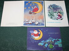 3 Vintage Soviet Postcards NEW YEAR CHRISTMAS SANTA MOON USSR 1960-80s