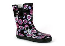 Festival Wide Calf Black Fushia Womens 3/4 Wellington Boots Wellies UK 3-8