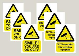 6 CCTV mixed stickers smile & 24 Hour signs decals 50mm x 70mm Free 1st class