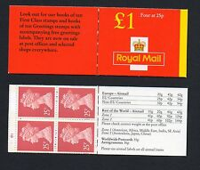 Gb 1996 £1 folded booklet Sgfh40 cyl Q1 Q1, 4 x Y1775 booklet mint stamps