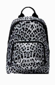 Marc Jacobs Backpack Black Gray Bookbag Leopard Print Nylon Bag Handbag NWT