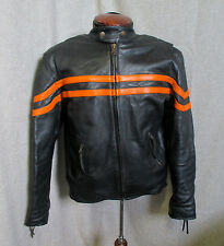 LEATHER BLACK/HARLEY ORANGE STRIPE CAFE RACER STYLE MOTORCYCLE JACKET SMALL