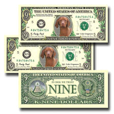 HUNGARIAN VIZSLA Pack of THREE Novelty NINE DOLLAR BILLS Dog