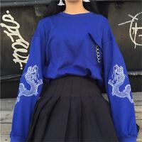 Harajuku Dragon Broderie Crew Neck Loose Thin Hoodie Pocket Long Sleeve Women G6