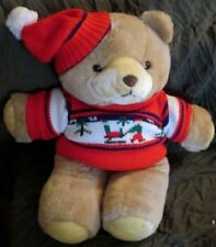 "Vtg Gerber TLC teddy bear red sled Sweater pom Hat plush Korea stuffed 21"" Toy"