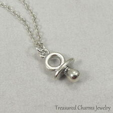 Silver Pacifier Charm Necklace - Binky Baby Shower Gift Pendant Jewelry NEW