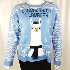 Hooked Up Women's Sweater Size 1x Pullover Long Sleeve Llamakah Blue Ugly