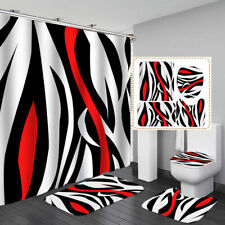 Abstract Color Art Shower Curtain Bath Mat Toilet Cover Rug Bathroom Decor