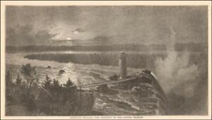 NIAGARA FALL in MOONLIGHT by Gignoux, original antique engraving + article 1859