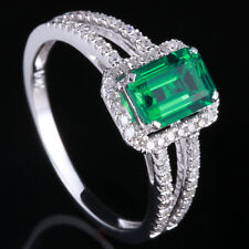 Natural Treated Emerald 7x5mm 10K White Gold Diamond Engagement Split Shank Ring