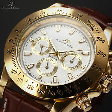 KS Imperial Mens Leather Date Day 6 Hands Automatic Mechanical Sport Wrist Watch