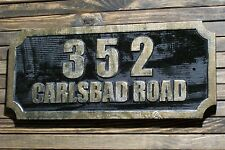 Large Address Sign Antique Brass Finished Custom Carved Wood Plaque