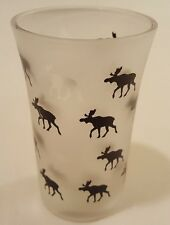 Frosted Shot Glass - Norway - Norwegian Moose in Black and Clear - NEW!