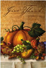 NEW EVERGREEN THANKSGIVING HARVEST DOUBLE-SIDED GARDEN FLAG GIVE THANKS 12.5X18