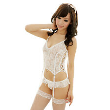 SEXY WOMANS BRIDAL LINGERIE White Sleepwear Top + G-String + Stockings #CC16