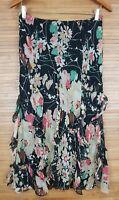 Lauren Ralph Lauren LRL Long Ruffle Silk Boho Skirt sz PM Petite Black Floral