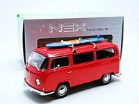 Welly 22472sbr Volkswagen Transporter T2 Bus Surfboard 1972 Rojo Escala 1/24