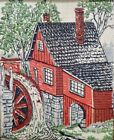 Fabric Art Panel Print with Grist Mill in a 12'x10' Oak Frame