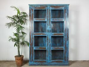 Large Vintage Worn Blue Paint Wooden Display Case Cupboard Cabinet MILL-802