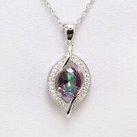 925 Sterling Silver Mystic Topaz Cubic Zircon Gemstones Jewelry Pendant Necklace