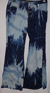 Mudd Splatter Juniors Jeans Teen Pants Dark  Pale Blue Sparkle 12 Boot Cut Bling