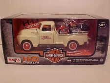1950 Chevy Pickup 3100 Die-cast Truck 1:25 Harley Davidson 8 inch Cream Maisto